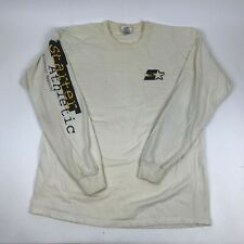Vtg 90s STARTER Athletic Long Sleeve Graphic T-Shirt Spell Out Sleeves XL Stains