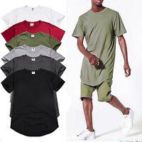 Mens Longline Short Sleeve T Shirt Plain Casual Summer Slim Basic Tops Shirts US