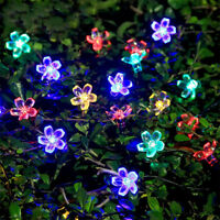 50 LED Solar Blossom Flower Fairy String Lights Outdoor Garden Wedding Party DIY
