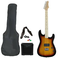 New Vintage Sunburst Full Size Electric Guitar Package Amp Case Cable Value Pack