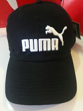Puma cap hat adjustable (metal adjuster) curved bill in black with white logo