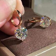 Fashion 925 prata, brincos de gota de Ouro Rosé Feminino Branco Safira Joias Um Par