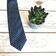 Elaan Mens Necktie Purple Turquoise Striped Pure Italian Silk Classic Neck Tie