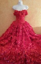 Scarlet Rose Goddess East Indian Inspired Strapless Bridal Wedding Ball Gown