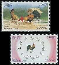 "LAOS N°1578/1579 ** ""Année du Coq"", 2005  year of the Rooster Sc#1649-1650 MNH"