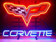 [Ship From Us] Chevy Corvette Flags C6 Racing Car Neon Sign Beer Bar Light