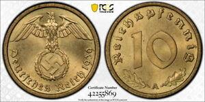 Germany 1939-A 10 Pfennig, KM-92, PCGS MS65