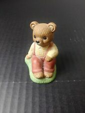 homco 1462 dad teddy bear figurine sitting on grass ground 2 1/2""