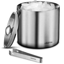 Gourmia GIB9385 Stainless Steel Ice Bucket With Tongs - 3 Liter, Double Wall
