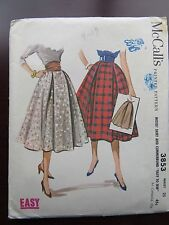 1950's Vintage McCall #3853 Sewing Soft Pleats and Cummerbund Skirt Classic Easy