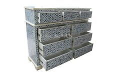 Big Indian Handmade Luxury Bone Inlay Mughal Design Chest Of 9 Drawer Blue Color