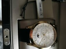 Emporio Armani Swiss Made Moon Phase Light Gold Ion Plated Lizard Strap Watch