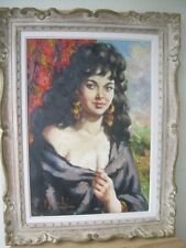 OIL PAINTING ON CANVAS  ''GIPSY WOMAN'' SIGNED   F. GERILI