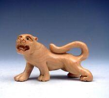 Boxwood Hand Carved Netsuke Sculpture Miniature Furious Tiger Walking #01061504