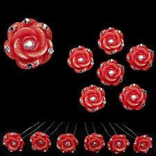 6 epingles pics cheveux chignon mariage mariée fleur résine rouge cristal blanc