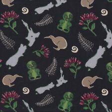 Zealand Icons Tiki Fern Kiwi Map on Black Quilting Fabric FQ or Metre