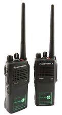 MOTOROLA GP340 VHF 5 WATT WALKIE-TALKIE TWO WAY RADIOS x 2 FARMING & COUNTRY USE