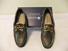 SPERRY TOP SIDER A/O Black Gold Metallic Leather Boat Shoe Sze 8 EU 39 NIB $95