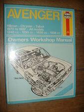 HAYNES MANUAL, HILLMAN AVENGER 1970-82, ALL MODELS, 1248, 1295, 1498 & 1598cc