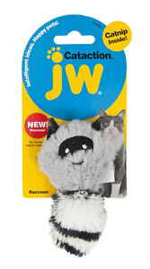 JW Pet Cat Toy Catnip Plush Raccoon With Tail Play Chase Stomp Kick Fling