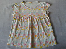Girls 10-11 Years - Light Grey with Multi Coloured Hearts 'Swing' Top - Cherokee