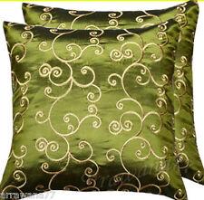 2 Thai Silk Decorative Pillow Cushion Cover Throw FS Green