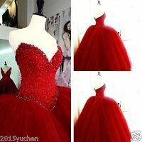 Red Sweetheart Beading Quinceaneras Dress A Line Formal Evening Prom Party Gown