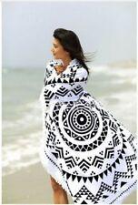 New Gorgeous Black/White Sarong/Picnic Mat with Fringe