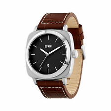 Edwin JULIUS Men's 3 Hand-Date Watch, Stainless Steel Case, Brown Leather Band