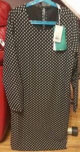ONLY PAIGE LIFE-  BLACK  Dot 7/8 ABOVE KNEE DRESS- SIZE UK 6/EU 34