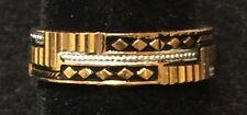 Toledo Spain 24K Gold-Plate Ring Damascene Style VINTAGE NEW Adjustable SZ 6 1/2