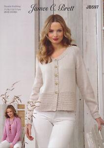 Ladies Double Knitting Pattern Womens Jumper & Cardigan James Brett DK JB597