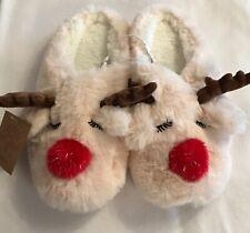 Ladies - Christmas - Reindeer - Slip on Mules/Slippers - Size 5-6 - Brand New