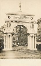 FALL RIVER MA – Victory Arch Built for WW I Veterans Welcome Home Real Photo PC