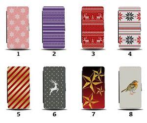 Christmas Design Flip Wallet Case Red Reindeer Present Pattern Winter Xmas 8188