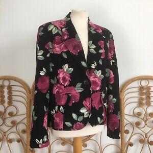Retro Black Needle Cord Corduroy Rose Floral Print Blazer Jacket Y2K Size 14 16