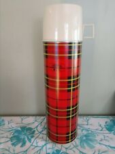 "Vintage 1973 King~Seeley Thermos hot/cold Quart size 13"" tall *red plaid design"