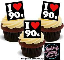 I LOVE 90s 12 STAND UPS Edible Image Cake Toppers Birthday celebrate party fun