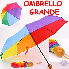 OMBRELLO GRANDE Multicolore RICHIUDIBILE Arcobaleno PORTATILE Antivento PIOGGIA