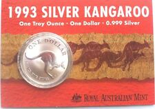 1993  $1  AUST  99.9%  FINE  SILVER  PROOF  COIN  KANGAROO SERIES