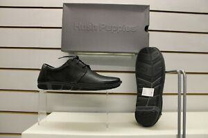 Mens Hush Puppies Veg Out Black Leather Casual Lace Up Shoe UK  7 , 8 , 9 , 9.5