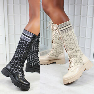 New Womens Knitted Sock Design Knee High Biker Boots Shoes Sizes 3-8
