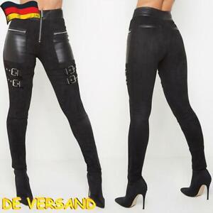 Damen Stretch Hose Skinny Leggings Biker Gothic Punk Jeggings Freizeithose DE