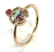 Fashion Costume Jewelry Mid Knuckle Ring SZ4 Gold Metal Band Colorful Center NEW
