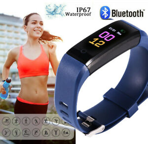 Fitness Armband Uhr Pulsmesser Wasserdicht Aktivitätstracker Schrittzähler IP67