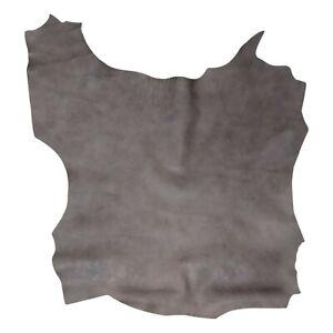Goat Skin Crunch Shiny Premium Rustic Look Leather Hide 5.12 Sq. ft. (Grey)