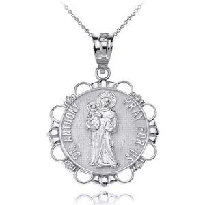 "14k White Gold Diamond Saint Anthony Pray For Us Circle 1"" Pendant Necklace"