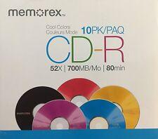 NEW Memorex 48x CD-R Media - 700MB - 120mm Standard - 10 Pack Slim Jewel Case