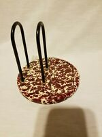 CROW CANYON ?? - Enamelware - Splatterware - Napkin Holder - Burgundy & Cream