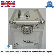 "1 X NEO SILVER Aluminium DJ Storage Case Holds 100 Vinyl 7"" Singles Records HQ"